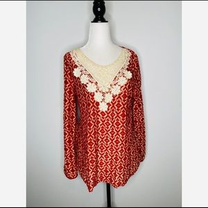 Umgee bohemian floral crochet blouse size small